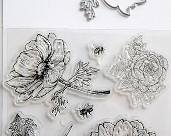 Tampons transparents et gabarits à découper La Rose