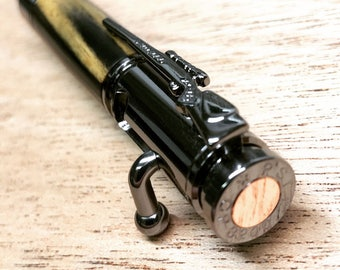30 Caliber Bolt Action Bullet Pen | Hand-Made with Black and White Ebony Wood
