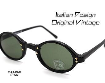 Occhiali da sole uomo donna tondo ovale nero lente verde bottiglia, Sunglasses men steampunk round oval frame black lens green bottle