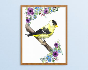 Goldfinch Painting - Watercolor Bird Art - Botanical Painting - Finch Painting - Bird Flower Print - Watercolor Floral - Bird Botanical Art