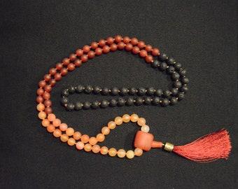 Carnelian Flame w/ Lava Mala/ 108 Beads/ Vitality/ Strength