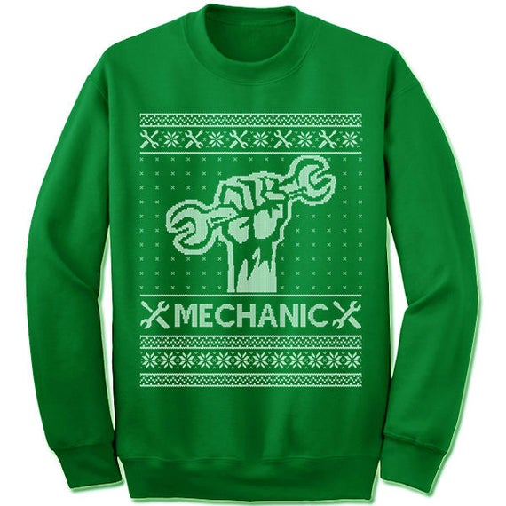 Mechanic Ugly Christmas Sweater. Gift. Car. Ugly Sweater.