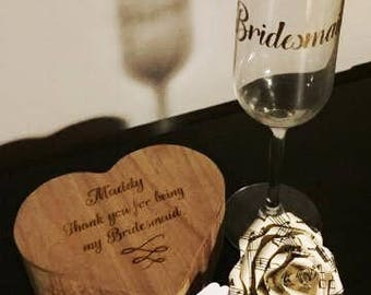 Bridesmaid Gift Set, Maid of Honour Gift, Personalised Gift, Thank You Gift, Wedding Party, Bridal Party, Jewellery Box, Champagne Flute