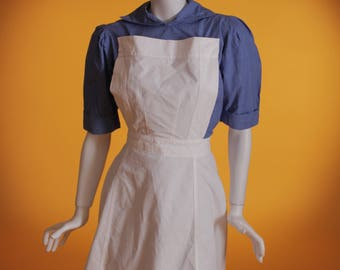 Vintage 1940's WW2 Original Nurses Uniform With Apron-Nursing Auxiliary The Civil Nursing Reserve