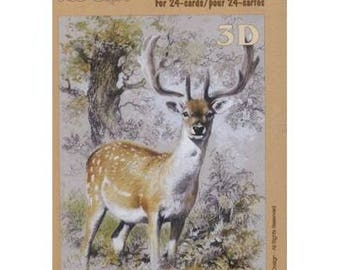 Book sheets of 24 Mini 3D collage, decoupage animal motives