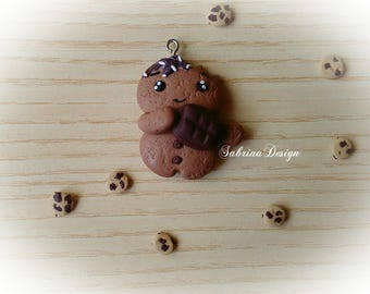 Gingerbread man polymer clay charm Christmas tree ornament special miniature gift