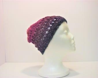 Purple Fade Criss-Cross Slouchy Winter Hat (A13)