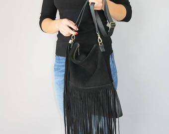 FRINGE BAG, Black leather fringe bag, suede fringe purse, boho suede fringe bag, leather purse,  suede leather shoulder bag in black