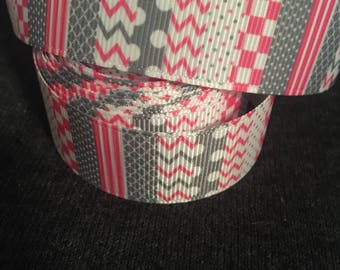 "Pink/Gray Multi-Pattern 1"" Ribbon"