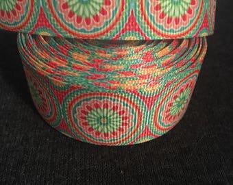"""Multi-Color Flower Circle 1"""" Ribbon"""