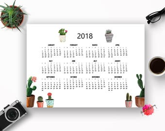 2018 Calendar, Printable Calendar, Printable 2018 Calendar, Cactus Calendar, 2018 Printable Calendar, Cactus Printable