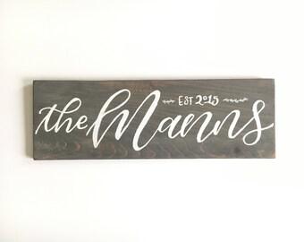 Custom Calligraphy Family Name Wedding Wood Sign