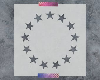 Betsy Ross Stars Stencil - Reusable DIY Craft Stencils of Betsy Ross Stars 13 Star Stencil