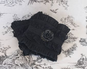 Lace cuffs Gloves black Gothic steampunk 2 piece rose cameo