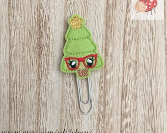 Geeky Christmas tree planner clip, geeky Christmas tree paperclip, book mark, feltie planner clip, organiser accessories, feltie paperclip