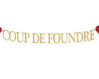 Coup de Foundre | Bannière de Mariage | Bannière Française pour la Saint-Valentin | Décorations de Mariage | Anniversaire de Mariage