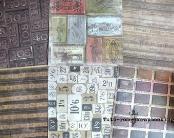 6 feuilles pour scrapbooking carterie album thème VINTAGE rétro format 30 x 30 recto verso tampon peinture