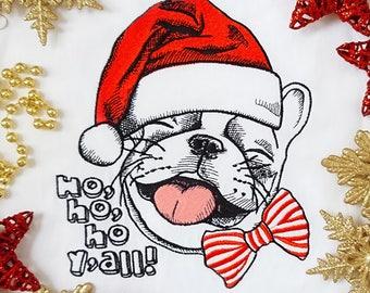 Machine Embroidery Design Christmas French bulldog