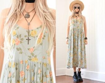 90s Floral Dress 90s Grunge Dress Floral Maxi Dress Rayon Dress 90s Dress Floral Dress Vintage 90s Clothing Boho Dress Rose Floral Dress S