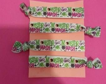 Set of 4 monster mash elastic Hair ties