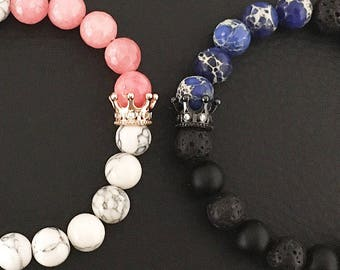 King & Queen Bracelets, Couples Bracelets, Semi-precious stones