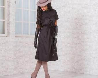 Elegant Dress/ Dress With Laces/ Black Dress/ Midi Dress/ Short Sleeve Dress/ Unique Dress/ Interesting Dress/ Friends Fashion