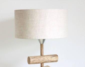 lamp shade linen - cylinder 35 cm - cylindrical - round - handmade - handmade