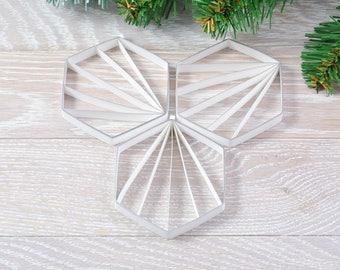 Decoration Christmas Hexagon, geometric paper decoration, decorating trend Hexagon in 3D, customizable