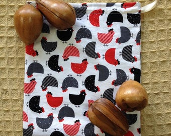 Red, Black, and Gray Chicken Print, Montessori Inspired, Drawstring Bag with Lining