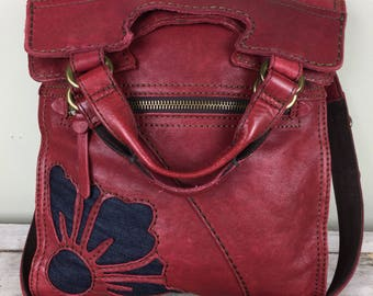 Lucky brand abbey road Italian lamb leather crossbody bag/ red/ denim flowers/ fall bag