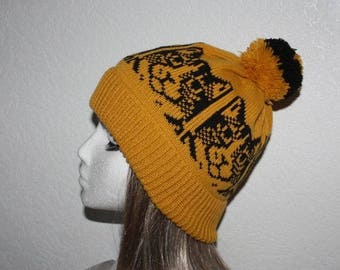Golden Mustard Knit Beanie Hat with Black Cats and Pompom