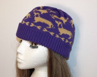 Purple with Beige Dachshunds Beanie Hat - with or without Pompom