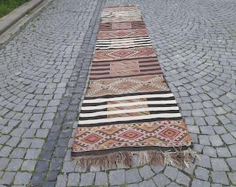 Turkish kilim rug runner, 34x167in.85x425cmanatolian kilim runner rug, boho rug, tribal rug