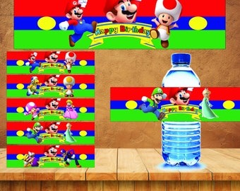 Mario Bros Printable Party Water Bottle Labels, mario bros Party, super Mario Bros Birthday, mario bros party, mario bros bottle , water