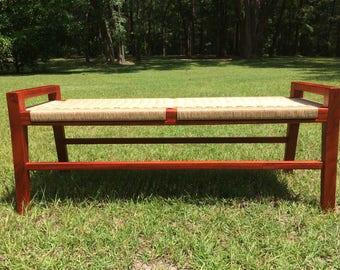 Danish cord- Scandinavian modern wood bench - Mid Century Modern
