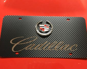 Cadillac Black Carbon Fiber Style Stainless Steel Front License Plate