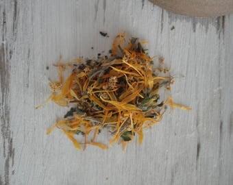 TEA MIXTURE _ hot: ginger, yarrow, marigold and lavender  (50 g / 1.76 oz)