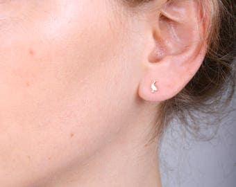 Gold Stud Earrings Bird, NeNe Bird Earrings, NeNe Bird Small Earrings, NeNe Bird jewelry, Solid Gold Earrings, Gold Post, 14k Solid Gold