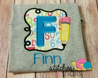 Pencil Frame with Name Appliqued Shirt