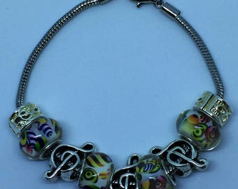 Musical note European charm bracelet