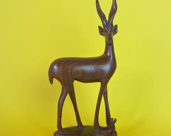 Vintage Hand Carved Wooden Antelope with Baby