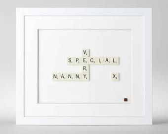 Handmade Very Special Nanny Scrabble Art. Birthday Gift. Mothers day Gift. Grandma. Granny. Nana. Gifts for her.