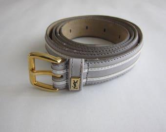 Yves Saint Laurent (YSL) 1980's, light gray and white leather belt