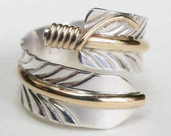 Feather Ring Ring Sterling Silver Gold Filled Native American Indian Navajo