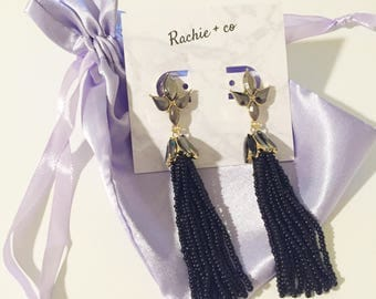 LUNA / Black Beaded Tassel Crystal Statement Earrings - High Quality and Luxury Look