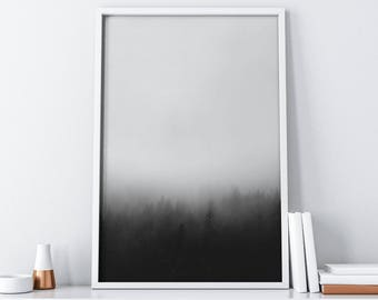 Forest Printable Art| Foggy Mountain Printable Art| Nordic Black and White Minimalist Poster| Tumblr Room Decor| Wall Art| Christmas Decor