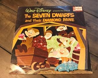 The Seven Dwarfs and their Diamond Mine Record Vinyl - DQ 1297 - 1966 - Walt Disney Productions - Music By Camarata