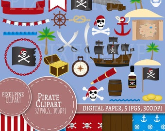 Pirate Clipart Set, Pirate themed 32 PNGs, 5 Nautical Digital Paper JPGs, Commercial Use, Nautical Pirate clipart, pirate ship clip art pngs