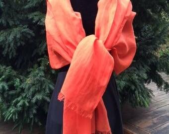 GRANDE ÉTOLE 100% LIN lavé et frangé, 75cm X 200 cm, coloris Orange