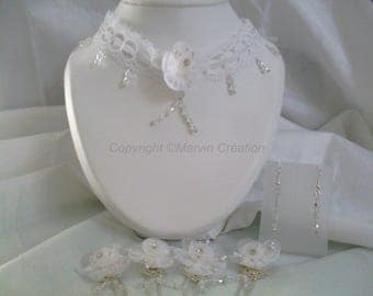 Set with Necklace (45cm), peaks bun and glass beads hoop earrings